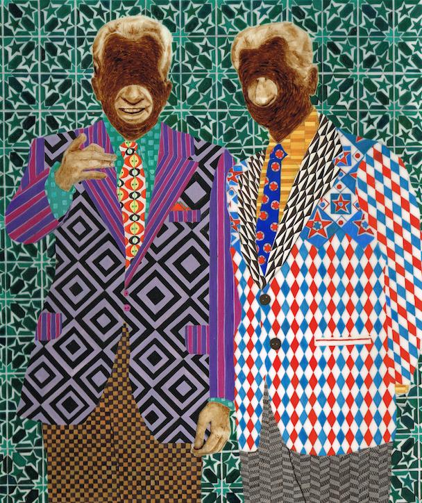 Soheila-Sokhanvari-Shah-and-Nixon-1974-2014-Egg-tempura-and-Iranian-Crude-Oil-on-velum-Courtesy-the-artist-and-Wysing-Arts-Centre
