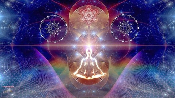 Multidimensional being - energetic body - spirit and soul - meditation flower of life